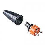 521 schuko stekker 230V volrubber met oranje kop