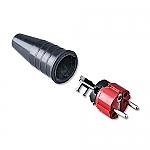 521 schuko stekker 230V volrubber met rode kop