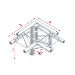 Pro 30 driehoektruss 90 graden 3-weg Apex Up rechts